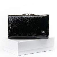 Лаковый черный кошелек женский из натуральной кожи ST WS-10 black, фото 1
