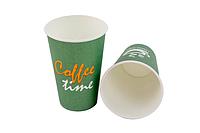 """Стакан бумажный 330мл """"Coffe Time"""" зеленый (50 шт в рукаве)"""