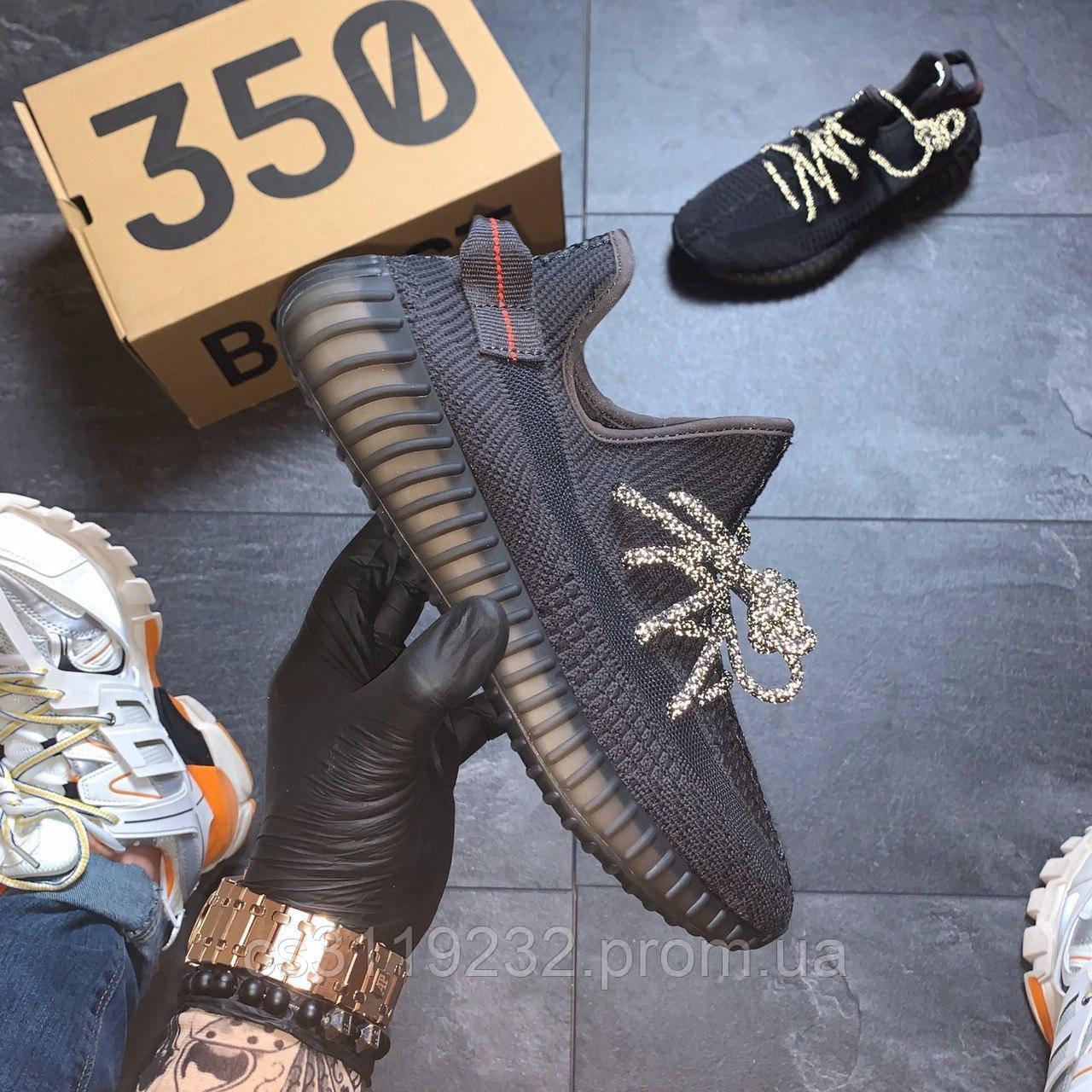 Мужские кроссовки Adidas Yeezy 350 v2 Triple Black (черный)