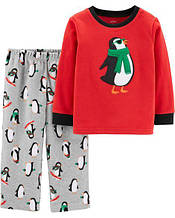 Пижама детская флисовая 4Т EUR 98 105 Картерс яркая новогодняя теплая с пингвином флис Carters оригинал