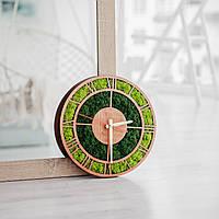 Класичний дерев'яний настінний годинник з мохом, Эко часы из стабилизированного мха