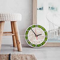 Класичний дерев'яний настінний годинник з мохом, Эко часы из стабилизированного мха 300, Стандартний: Нефарбований, Інший колір з палітри (вкажіть в коментарях)