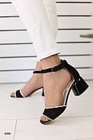 Босоножки черные замшевые на устойчивом каблуке, фото 1