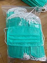 Медицинская маска 50 шт четырехслойная спанбонд фабричная сертифицированная голубо-зеленая