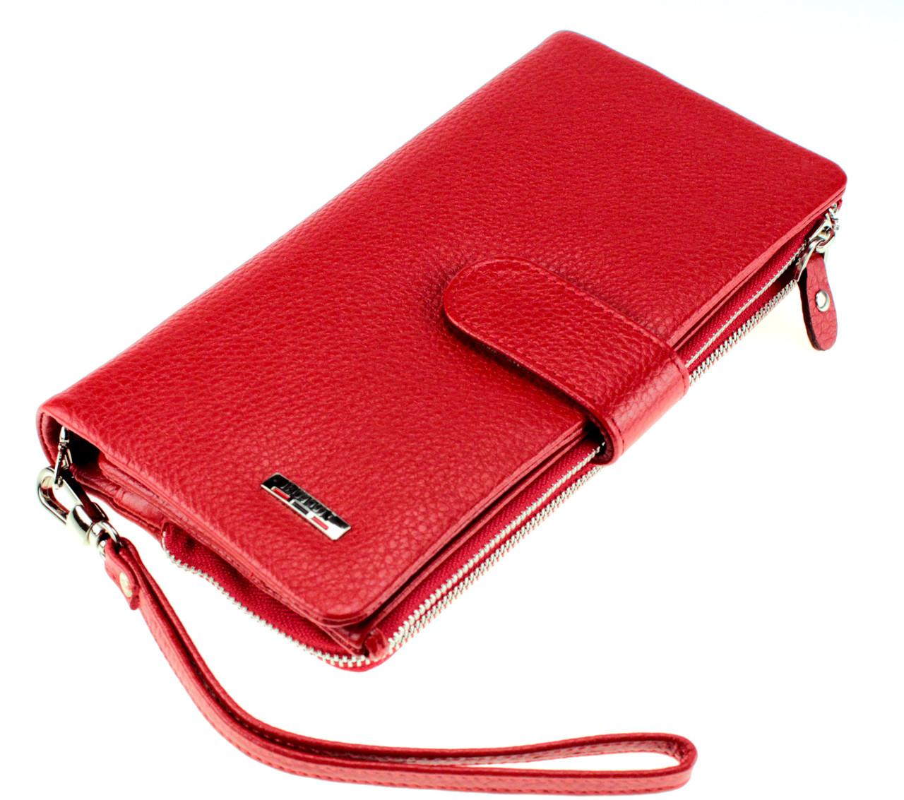 Женский кошелек клатч кожаный красный BUTUN 022-004-006