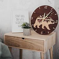 Дерев'яний настінний годинник полярний ведмідь, 30 см