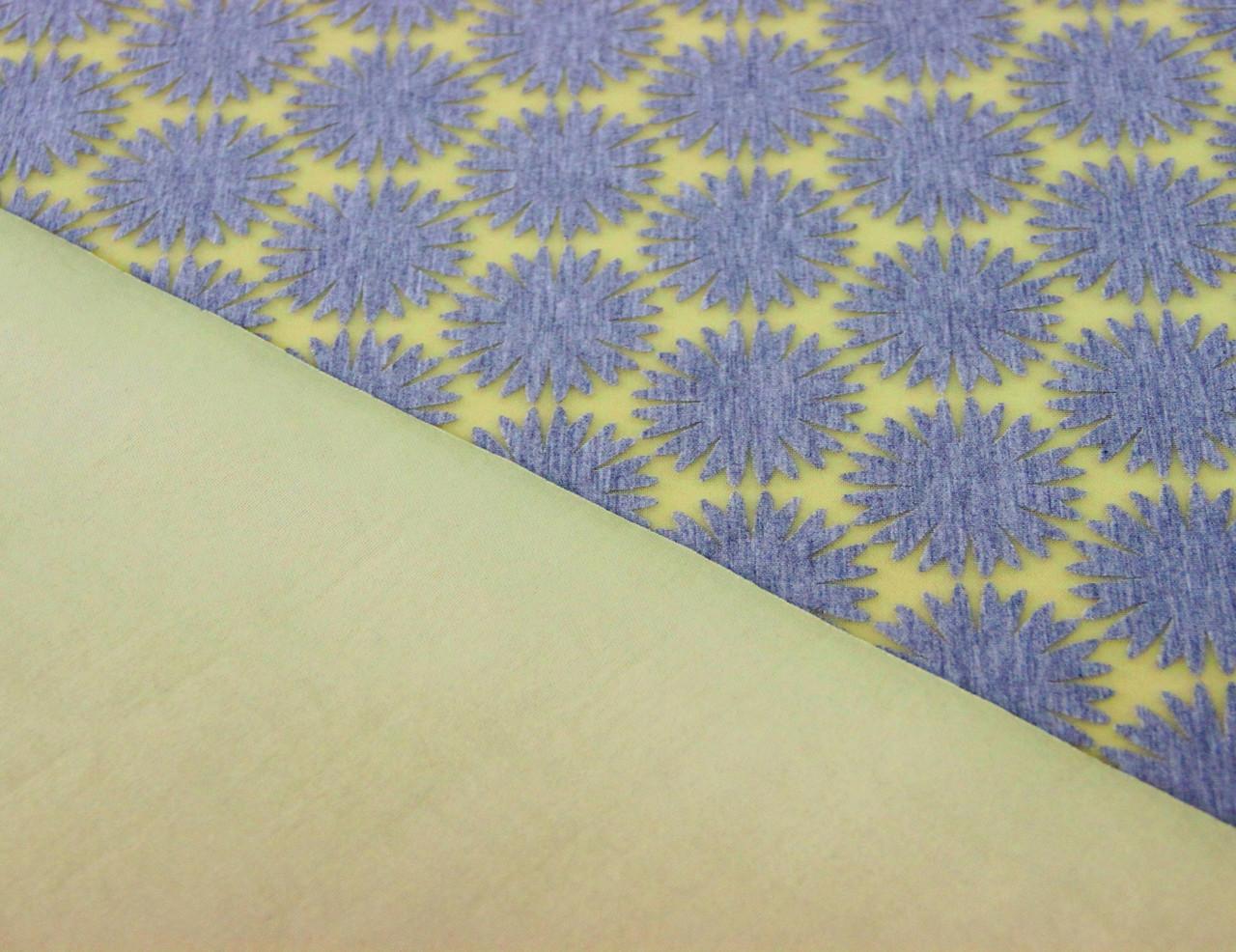 Неопрен двосторонній жовтого кольору з сірими сонечками/сніжинками BX 5
