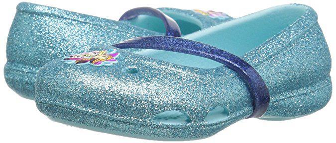 Туфельки Crocs блестящие голубые EUR 22 23 для девочки оригинал Крокс яркие модные