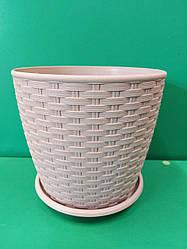 Горщик для вазонів та квітів Ротанг 16*15 колір Какао