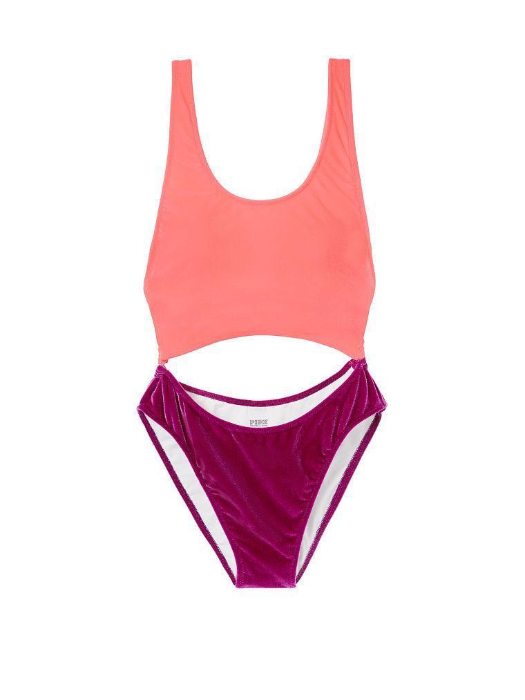 Хит VS Pink Swim Монокини XS оригинал Victoria Secret сдельный вельветовый купальник Виктория Сикрет