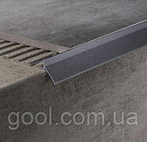 Профиль алюминиевый для открытого балкона и террасы окончание для плитки и свеса капельник отлив коричневый