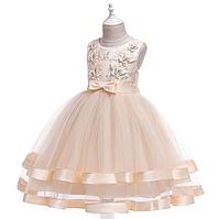 Нарядное бальное платье капучино с бабочками.   Elegant ball gown на девочку 5-12 лет, фото 1
