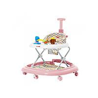 Ходунки детские для дома 3 в 1 для девочки с родительской ручкой музыкальные CARRELLO Eterno Розовый