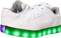 Мигающие кроссовки LED Skechers US 8 EUR 41 сникерсы белая кожа оригинал Скетчерс