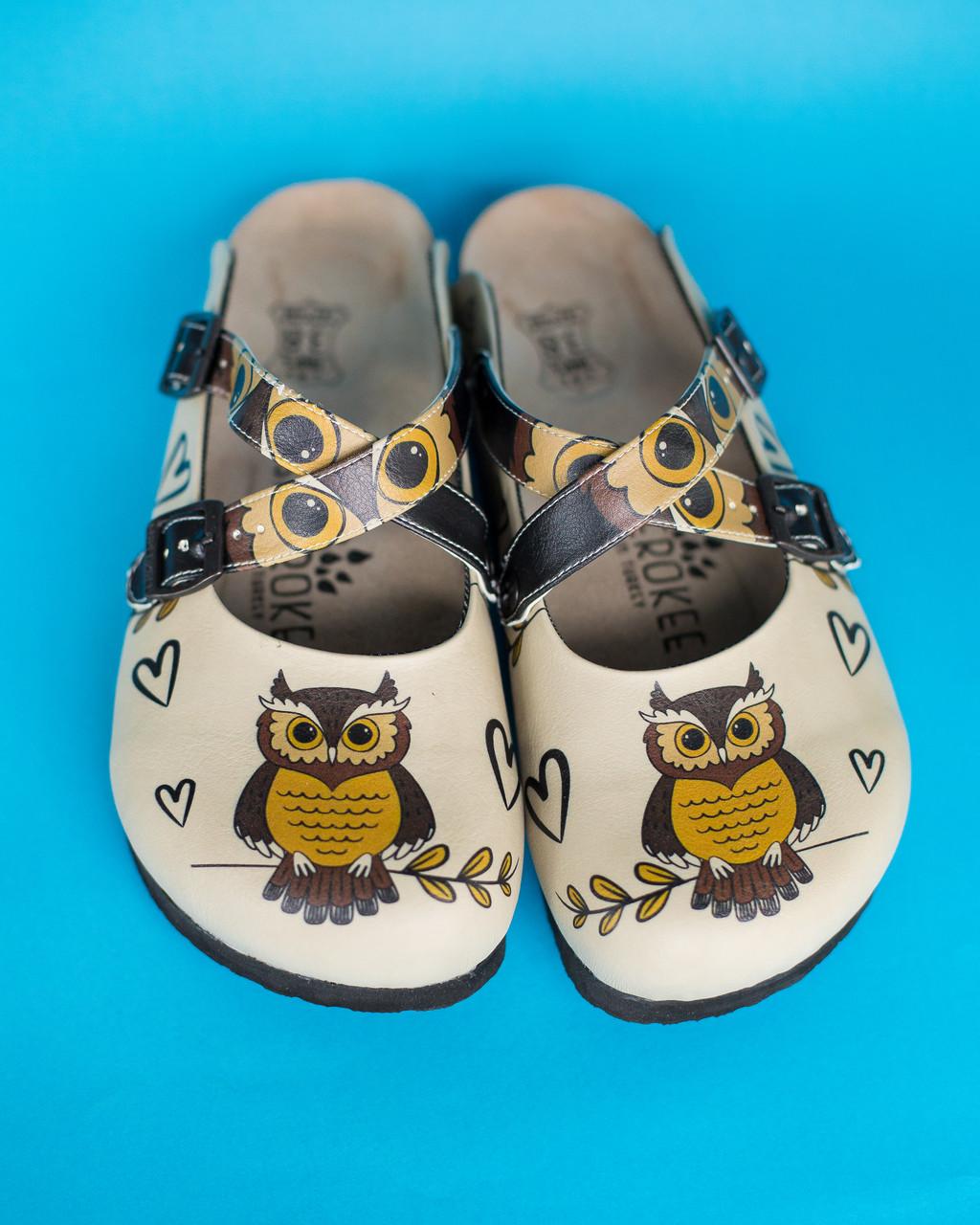 Ортопедическая обувь сабо с принтом OWL HEART