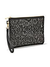 Клатчи Victorias Secret черный с цветочным принтом Оригинал Виктория Сикрет кошелек сумочка косметичка