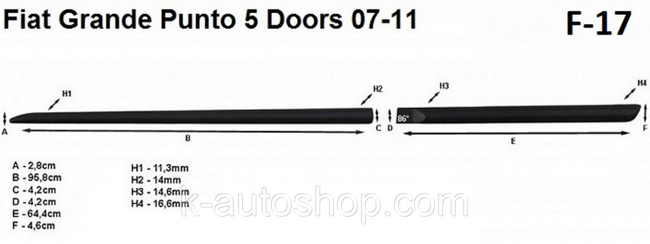 Молдинги на двері для Fiat Grande Punto 5Dr 2005-2012, фото 4