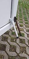 Упор дверной откидной,ножка откидная пружинная для двери L-300 мм. Белый