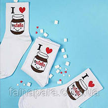 Белые женские носки Nutella