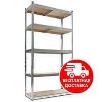 Стеллаж металлический  2400х1100х300мм 5полок полочный крашенный белый для дома, склада, магазина, фото 1