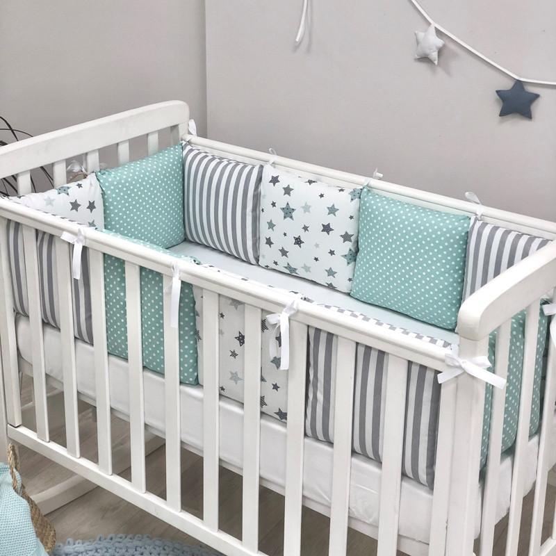 Бортики + простирадло Baby Design Stars м'ятний