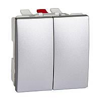 Выключатель двуклавишный, 2 мод. 10А 250В Unica Schneider Electric Алюминий