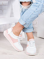Кроссовки женские кожаные бело-розовые Лола 6918-28