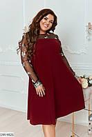 Нарядное женское платье трапеция с вышивкой на рукавах размеры 48-62 арт 1012