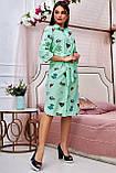 Коттоновое плаття міді в дрібну смужку з принтом (3 кольори, р S,M,L,XL), фото 5