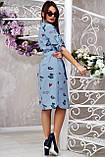 Коттоновое плаття міді в дрібну смужку з принтом (3 кольори, р S,M,L,XL), фото 4
