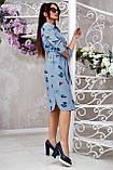 Коттоновое плаття міді в дрібну смужку з принтом (3 кольори, р S,M,L,XL), фото 3