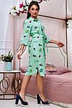 Коттоновое плаття міді в дрібну смужку з принтом (3 кольори, р S,M,L,XL), фото 6