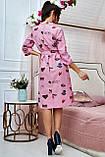 Коттоновое плаття міді в дрібну смужку з принтом (3 кольори, р S,M,L,XL), фото 10