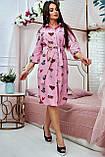 Коттоновое плаття міді в дрібну смужку з принтом (3 кольори, р S,M,L,XL), фото 8
