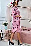 Коттоновое плаття міді в дрібну смужку з принтом (3 кольори, р S,M,L,XL), фото 9