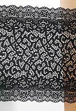 """Кружево стрейчевое черное """"модело"""", ширина 22см, цвет черный(Италия)"""