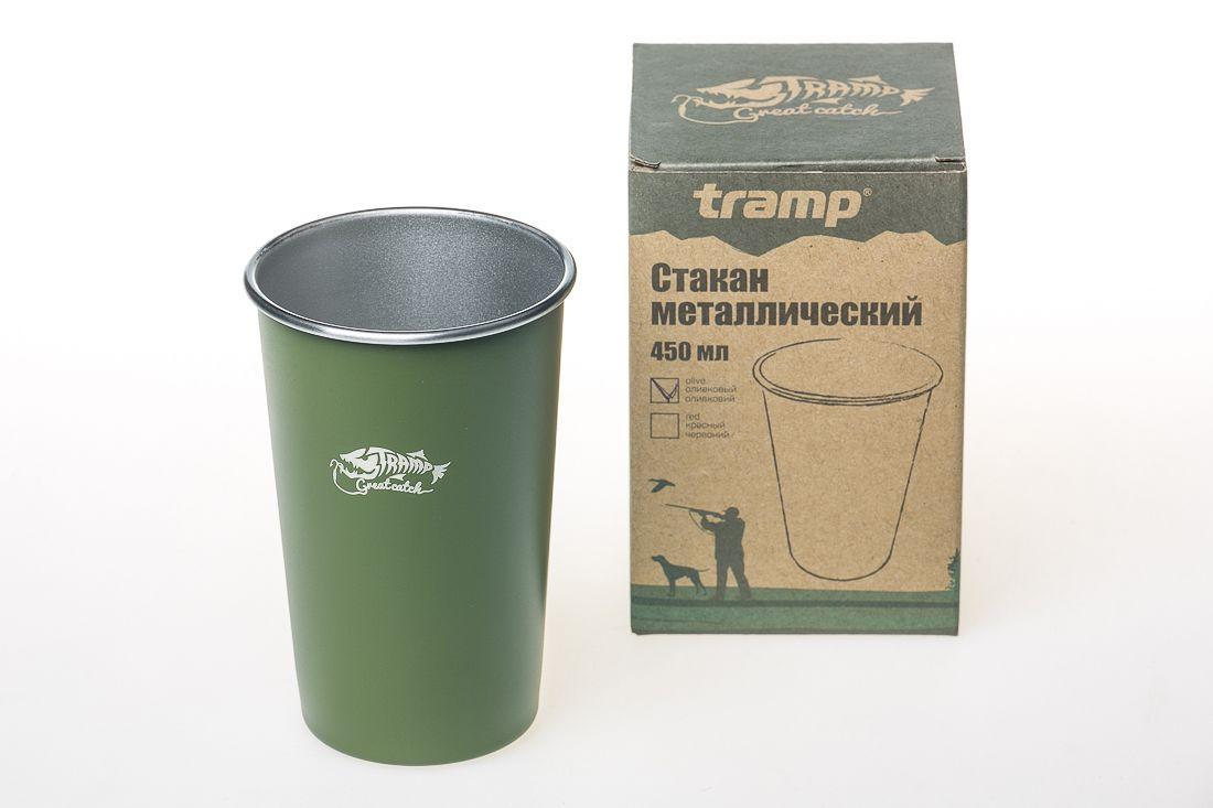 Походный стакан металлический Tramp (450мл) оливковый TRC-099