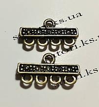 Коннектор прямоугольный бронза 5 отверстий, размер: 22.5х12х3.5мм, 1 уп - 2 шт