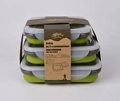 Дорожный набор из 3х силиконовых контейнеров Tramp (400/700/1000ml) olive
