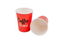 """Стакан бумажный 330мл """"Coffe Time"""" красный (50 шт в рукаве)"""