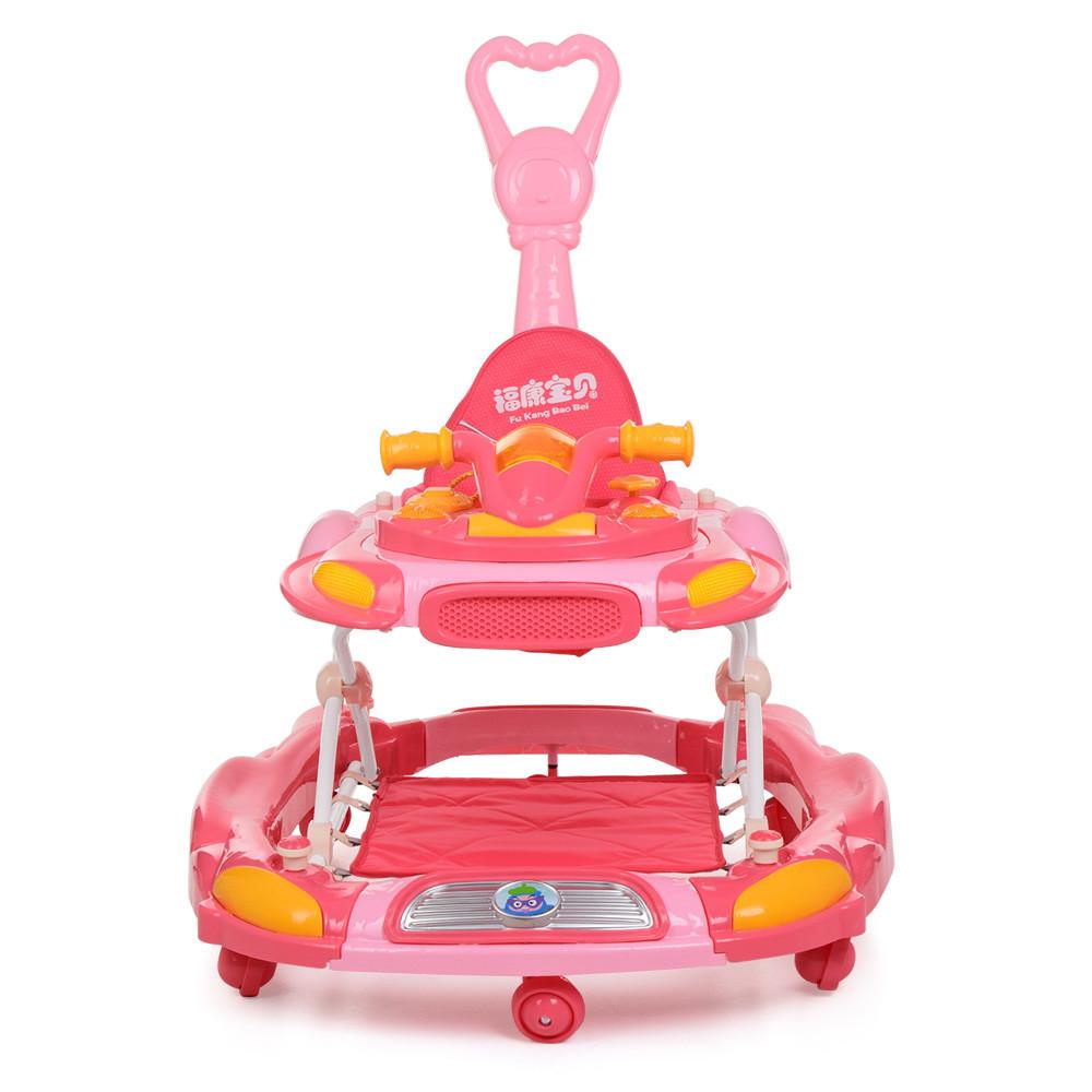 Детские ходунки толкатель качалка 3в1 с игровой панелью музыкой родительской ручкой на колесиках Bambi Розовый