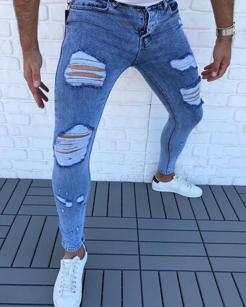 Мужские рваные джинсы V0043 голубые