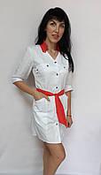 Медичний жіночий халат Тіффані коттон три чверті рукав