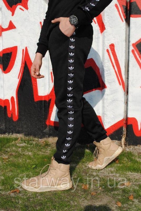 Чёрные стильные штаны с черными лампасами Adidas   турецкий трикотаж