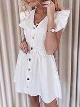 Нежное легкое мини платье  Ткань софт Цвета: белый, беж размеры 42-48