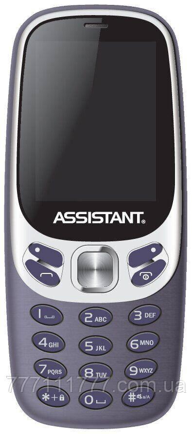 Кнопочный телефон удобный с камерой и мп3 плеером на 2 sim Assistant AS-203 Blue