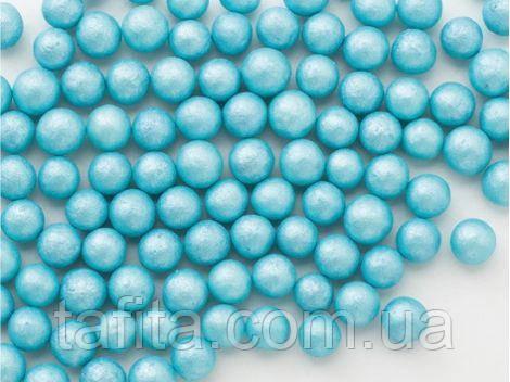Бусины сахарные Голубые перламутровые 5 мм. 50г