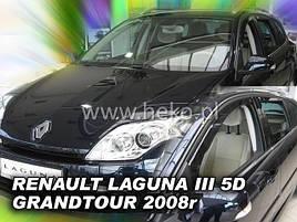 Дефлекторы окон (ветровики)  Renault Laguna III 2007-> 5D combi 4шт (Heko)