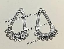 Коннектор Капля Античное серебро 8 отверстий, размер: 32.5х22х1мм, 1 уп - 2 шт