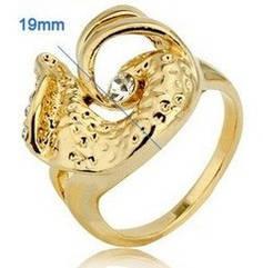 Кольцо с покрытием 18K желтого золота с австрийским кристаллом